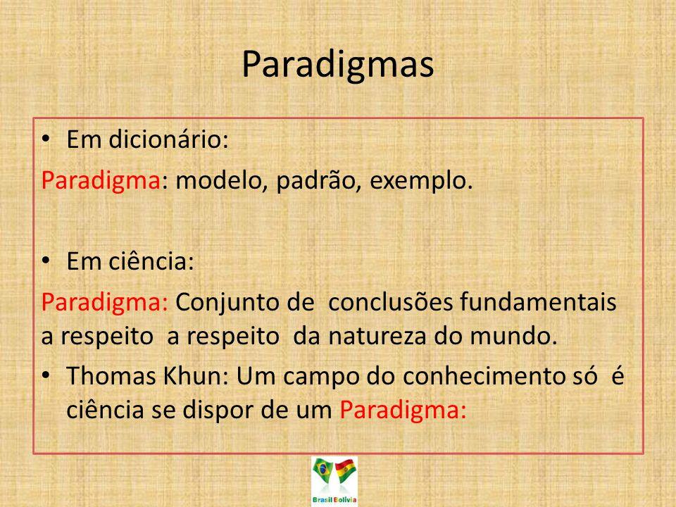 Paradigmas Em dicionário: Paradigma: modelo, padrão, exemplo. Em ciência: Paradigma: Conjunto de conclusões fundamentais a respeito a respeito da natu