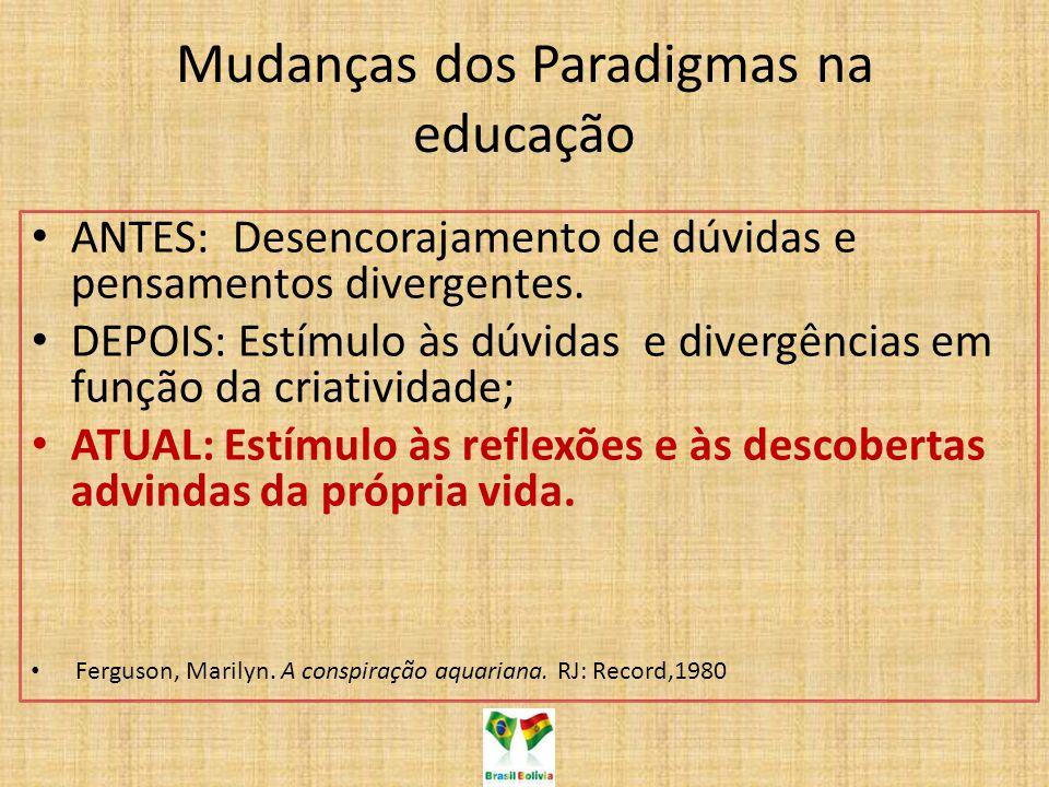 Mudanças dos Paradigmas na educação ANTES: Desencorajamento de dúvidas e pensamentos divergentes. DEPOIS: Estímulo às dúvidas e divergências em função