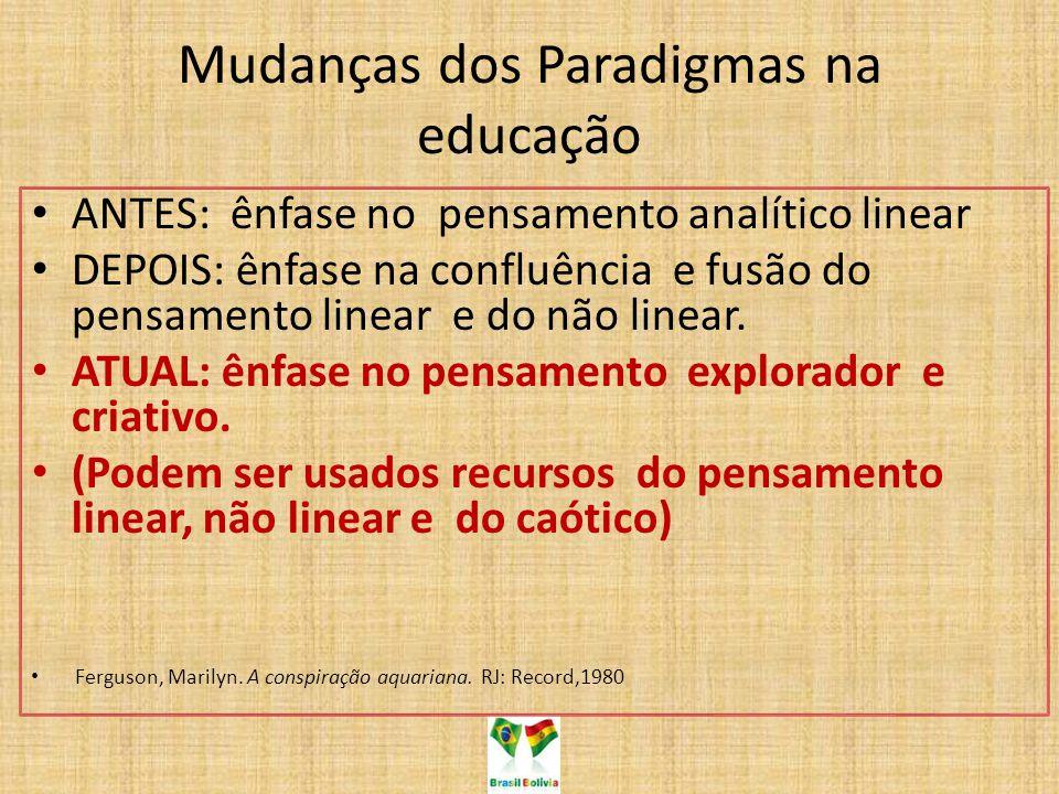 Mudanças dos Paradigmas na educação ANTES: ênfase no pensamento analítico linear DEPOIS: ênfase na confluência e fusão do pensamento linear e do não l