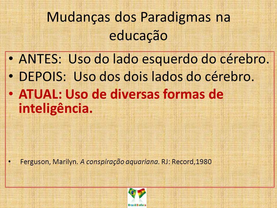 Mudanças dos Paradigmas na educação ANTES: Uso do lado esquerdo do cérebro. DEPOIS: Uso dos dois lados do cérebro. ATUAL: Uso de diversas formas de in