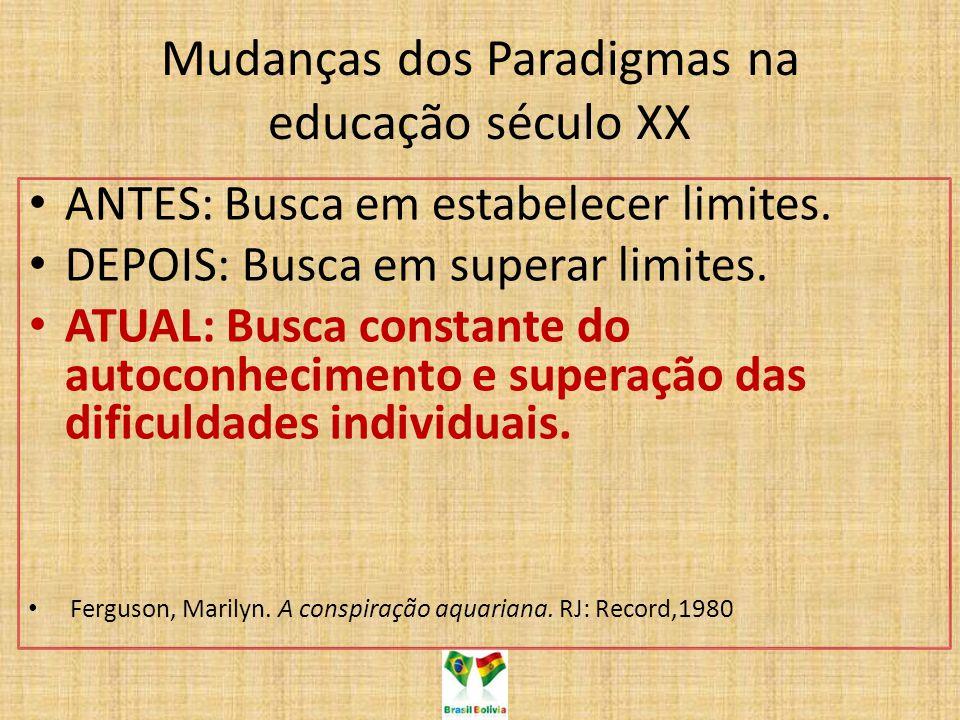 Mudanças dos Paradigmas na educação século XX ANTES: Busca em estabelecer limites. DEPOIS: Busca em superar limites. ATUAL: Busca constante do autocon