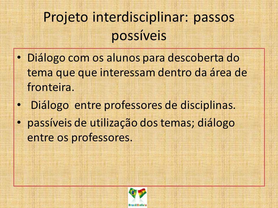 Projeto interdisciplinar: passos possíveis Diálogo com os alunos para descoberta do tema que que interessam dentro da área de fronteira. Diálogo entre