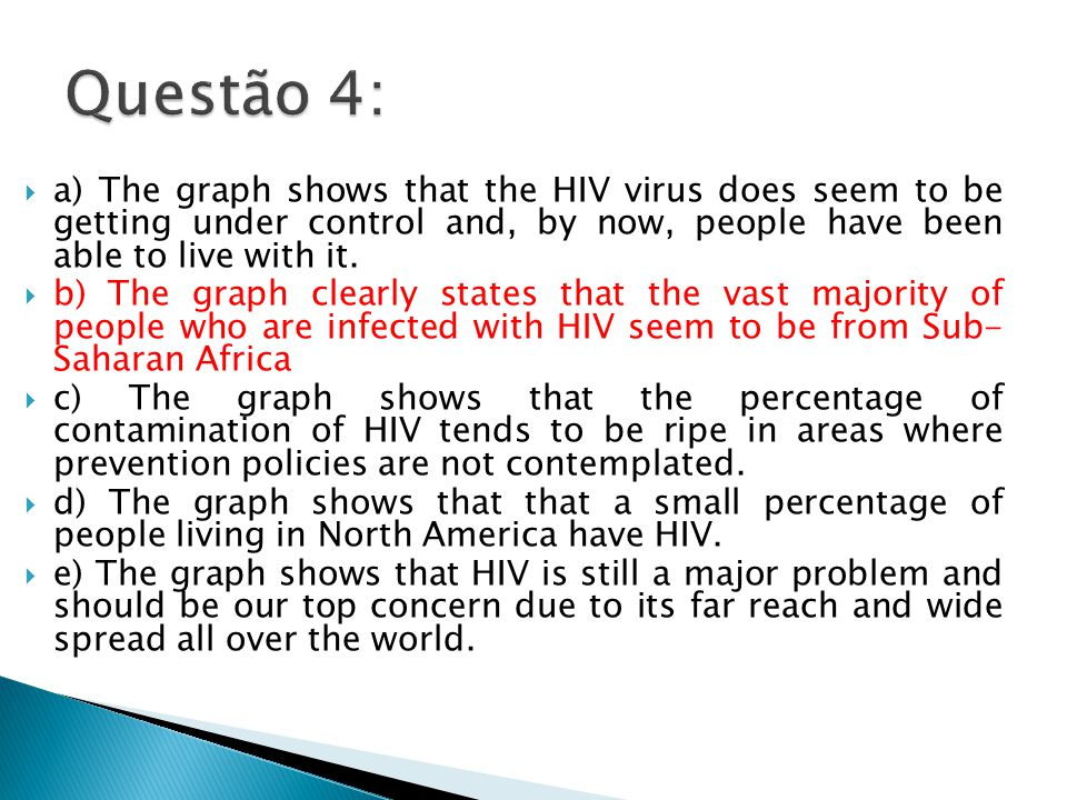  a) The graph shows that the HIV virus does seem to be getting under control and, by now, people have been able to live with it.  b) The graph clear