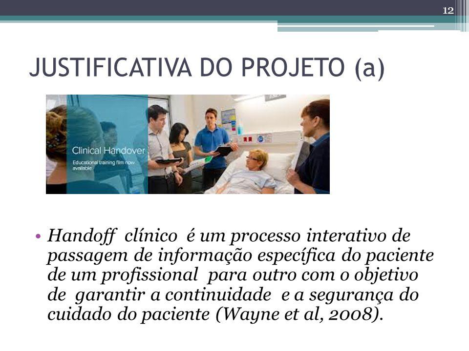 JUSTIFICATIVA DO PROJETO (a) Handoff clínico é um processo interativo de passagem de informação específica do paciente de um profissional para outro com o objetivo de garantir a continuidade e a segurança do cuidado do paciente (Wayne et al, 2008).