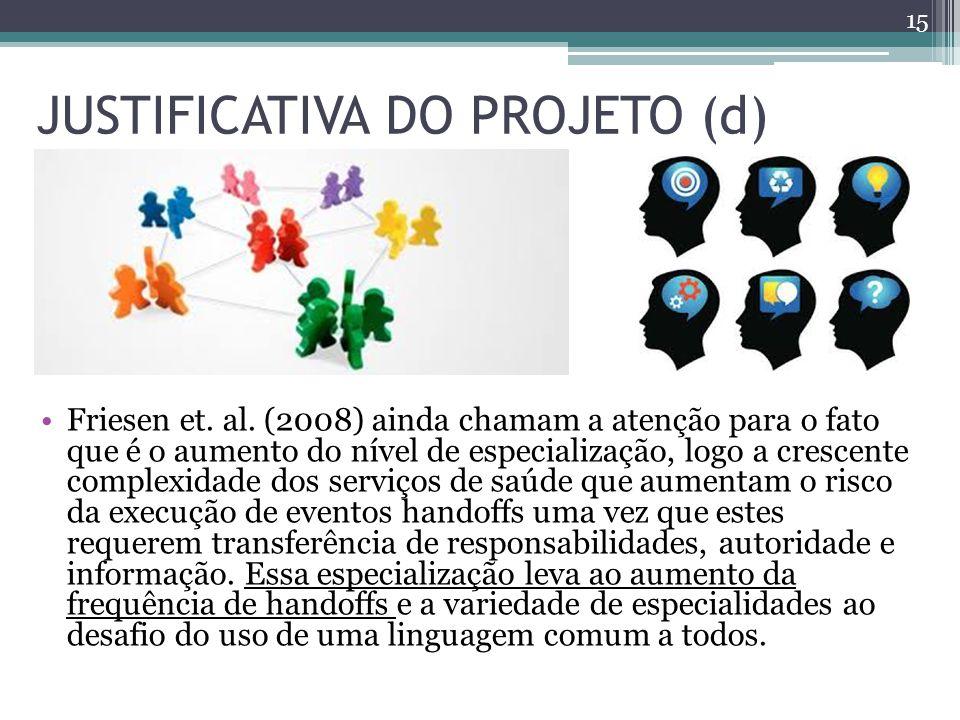 JUSTIFICATIVA DO PROJETO (d) Friesen et.al.