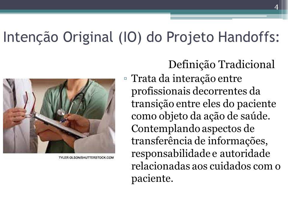 Intenção Original (IO) do Projeto Handoffs: Definição Tradicional ▫Trata da interação entre profissionais decorrentes da transição entre eles do paciente como objeto da ação de saúde.