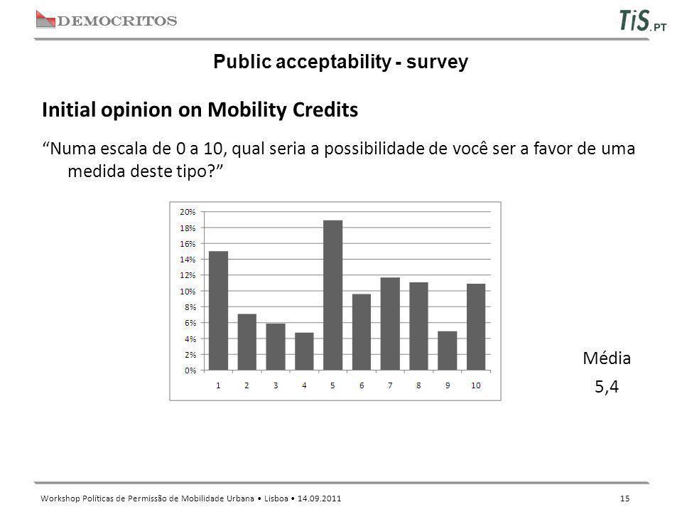 """DEMOCRITOS Workshop Políticas de Permissão de Mobilidade Urbana Lisboa 14.09.2011 15 Public acceptability - survey """"Numa escala de 0 a 10, qual seria"""