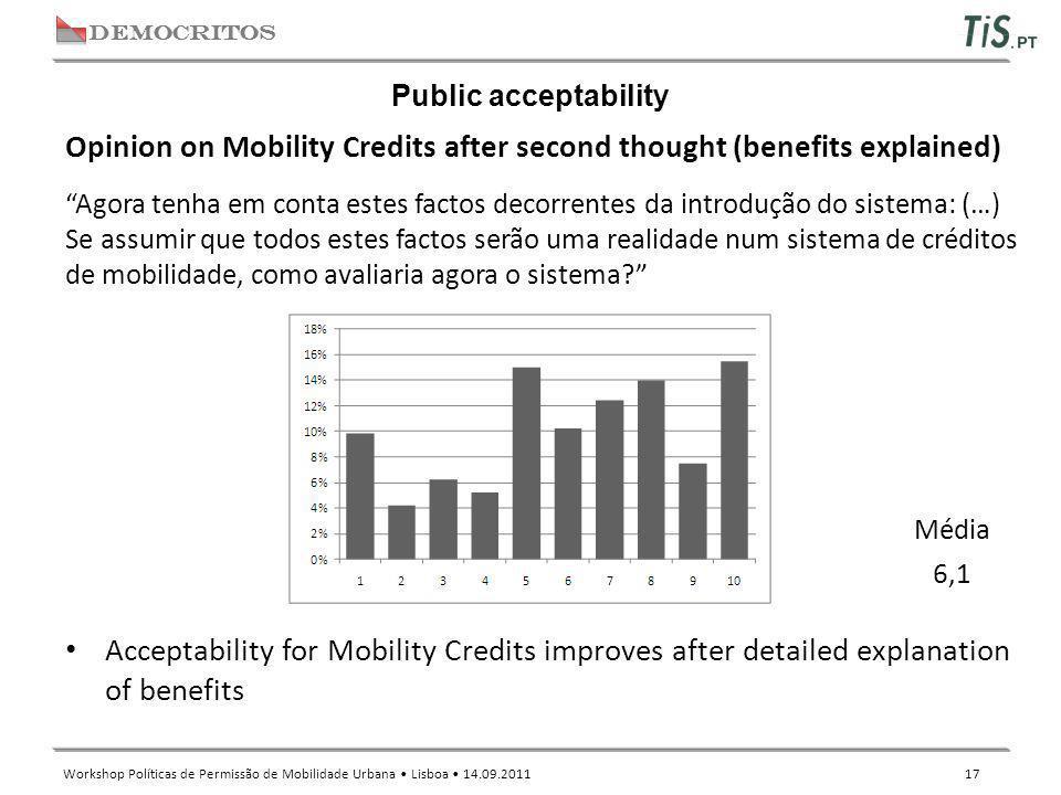 """DEMOCRITOS Workshop Políticas de Permissão de Mobilidade Urbana Lisboa 14.09.2011 17 Public acceptability """"Agora tenha em conta estes factos decorrent"""