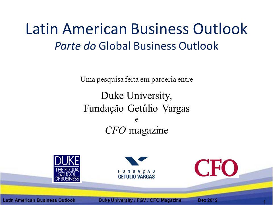 Principais preocupações internas dos CFOs latino-americanos Latin American Business Outlook Duke University / FGV / CFO Magazine Dez 2012 2 1.Capacidade de manter margens 2.Atrair e reter profissionais qualificados 3.Manter moral/produtividade 4.Capacidade de prever resultados 5.Gerir capital de giro 6.Riscos na cadeia de suprimentos 7.Gerir sistemas de TI 8.Riscos de contrapartes 9.Custos de seguro saúde 10.Fraquezas no balanço 11.Obrigações com pensões