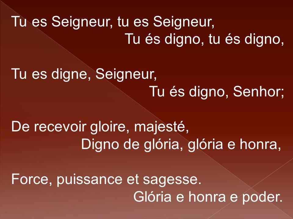 Tu es Seigneur, tu es Seigneur, Tu és digno, tu és digno, Tu es digne, Seigneur, Tu és digno, Senhor; De recevoir gloire, majesté, Digno de glória, gl
