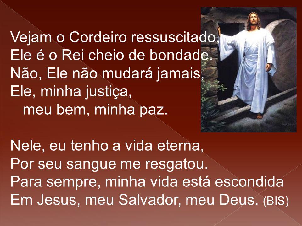 Vejam o Cordeiro ressuscitado, Ele é o Rei cheio de bondade. Não, Ele não mudará jamais, Ele, minha justiça, meu bem, minha paz. Nele, eu tenho a vida