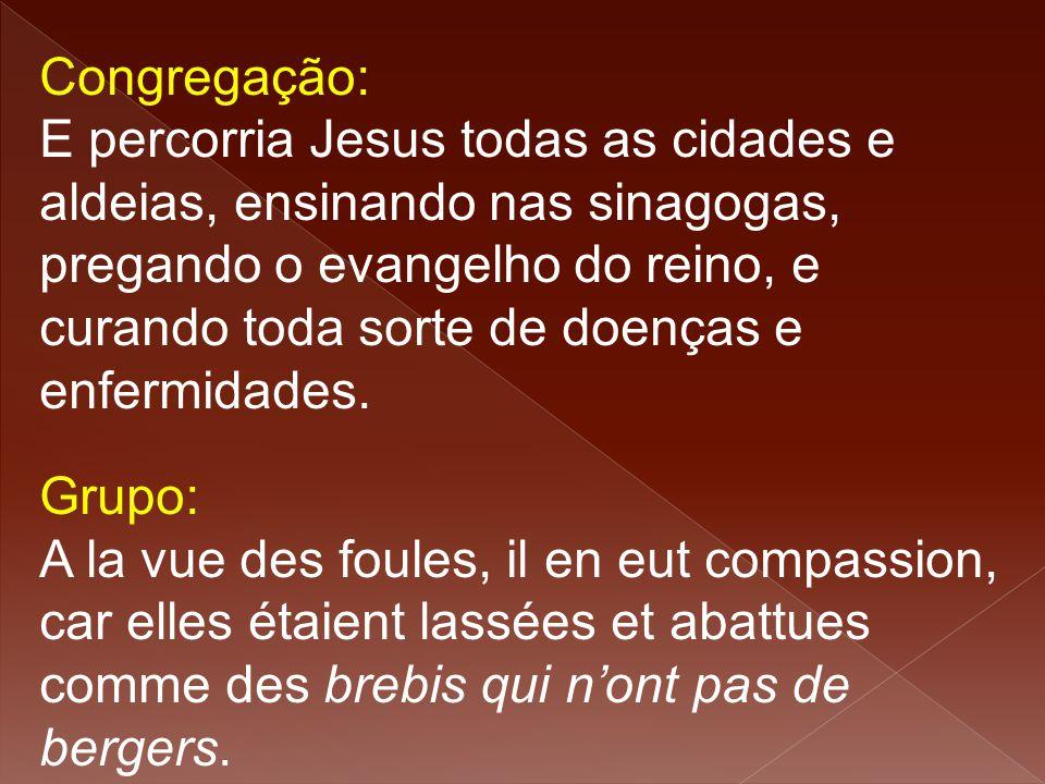 Congregação: E percorria Jesus todas as cidades e aldeias, ensinando nas sinagogas, pregando o evangelho do reino, e curando toda sorte de doenças e e