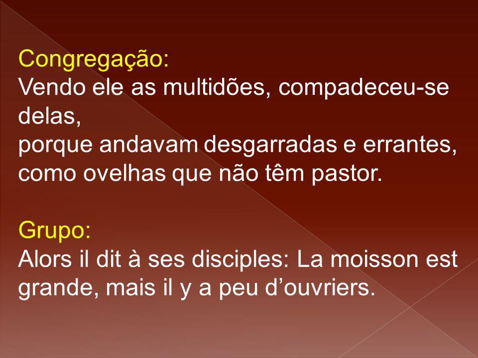 Congregação: Vendo ele as multidões, compadeceu-se delas, porque andavam desgarradas e errantes, como ovelhas que não têm pastor. Grupo: Alors il dit