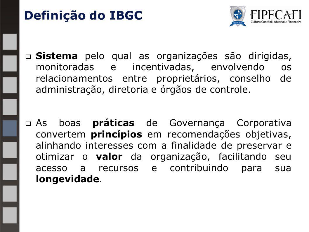 Definição do IBGC  Sistema pelo qual as organizações são dirigidas, monitoradas e incentivadas, envolvendo os relacionamentos entre proprietários, conselho de administração, diretoria e órgãos de controle.