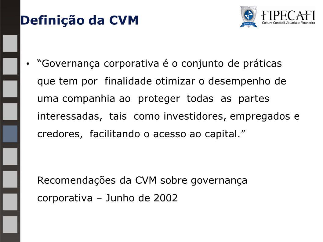 Definição da CVM Governança corporativa é o conjunto de práticas que tem por finalidade otimizar o desempenho de uma companhia ao proteger todas as partes interessadas, tais como investidores, empregados e credores, facilitando o acesso ao capital. Recomendações da CVM sobre governança corporativa – Junho de 2002