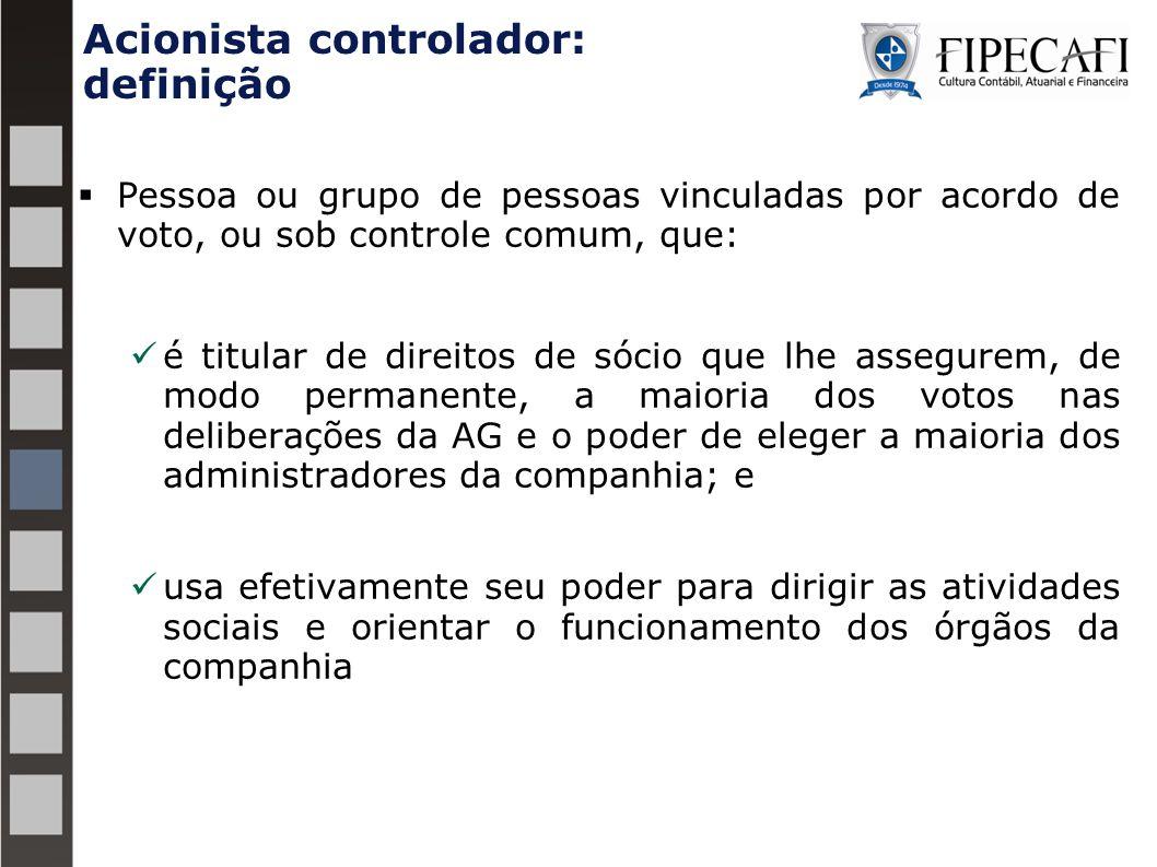 Acionista controlador: definição  Pessoa ou grupo de pessoas vinculadas por acordo de voto, ou sob controle comum, que: é titular de direitos de sóci