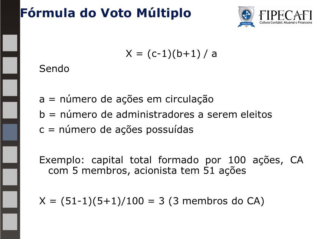 Fórmula do Voto Múltiplo X = (c-1)(b+1) / a Sendo a = número de ações em circulação b = número de administradores a serem eleitos c = número de ações possuídas Exemplo: capital total formado por 100 ações, CA com 5 membros, acionista tem 51 ações X = (51-1)(5+1)/100 = 3 (3 membros do CA) 35