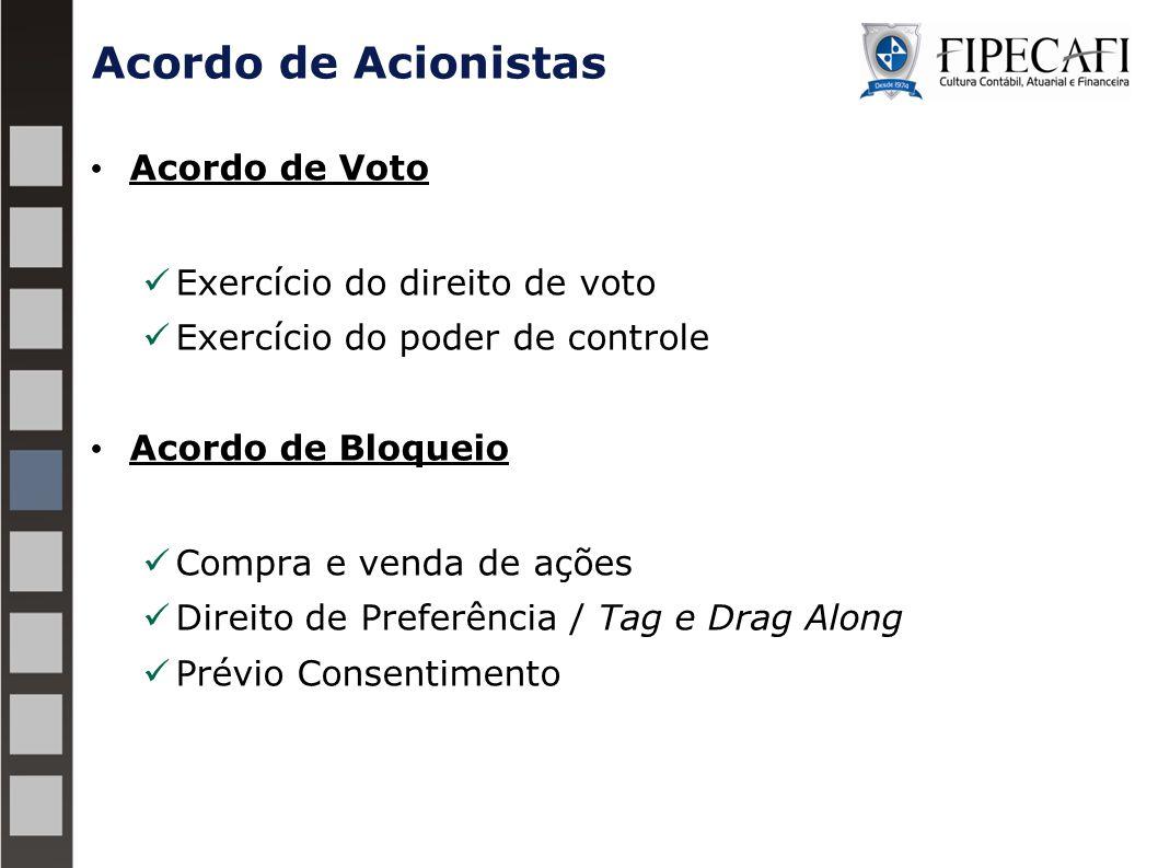 Acordo de Voto Exercício do direito de voto Exercício do poder de controle Acordo de Bloqueio Compra e venda de ações Direito de Preferência / Tag e D