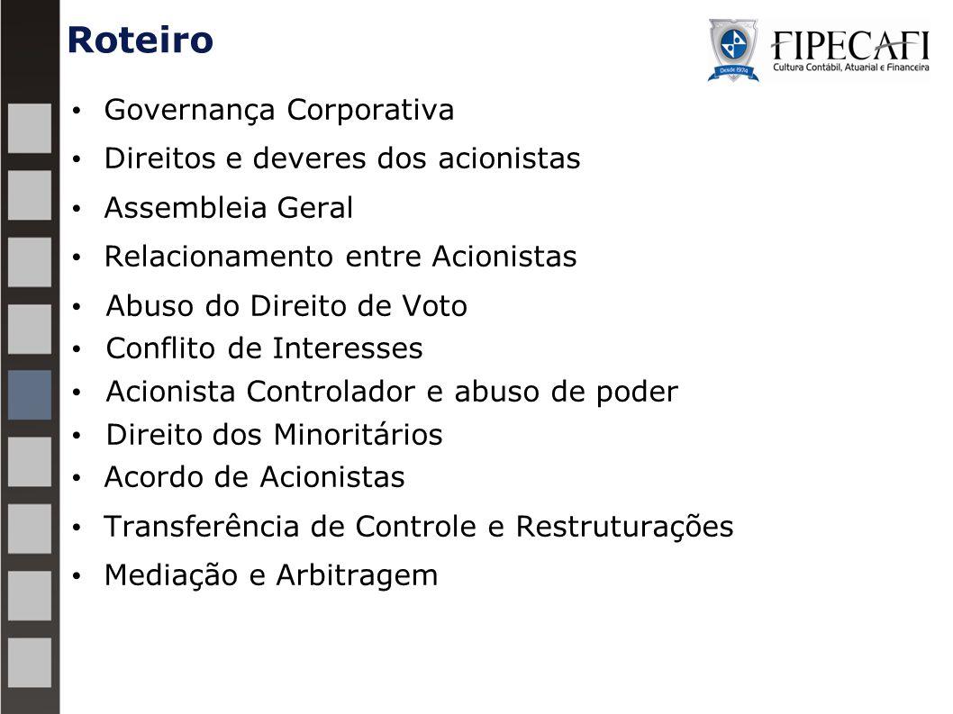Roteiro Governança Corporativa Direitos e deveres dos acionistas Assembleia Geral Relacionamento entre Acionistas Abuso do Direito de Voto Conflito de