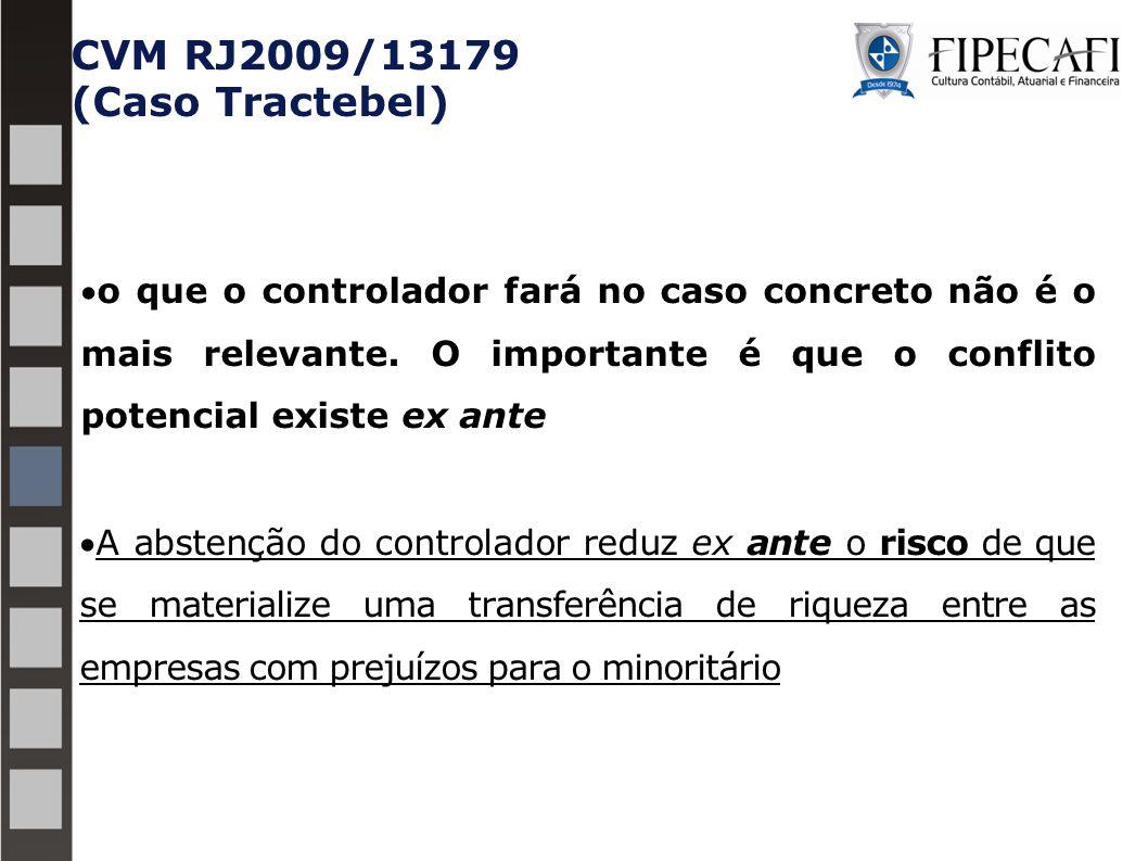 CVM RJ2009/13179 (Caso Tractebel) o que o controlador fará no caso concreto não é o mais relevante. O importante é que o conflito potencial existe ex