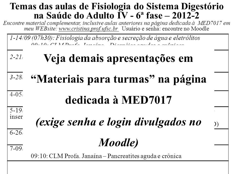 1-14/09 (07h30): Fisiologia da absorção e secreção de água e eletrólitos 09:10: CLM Profa. Janaína – Diarréias agudas e crônicas 2-21/09 (07h30): Dige