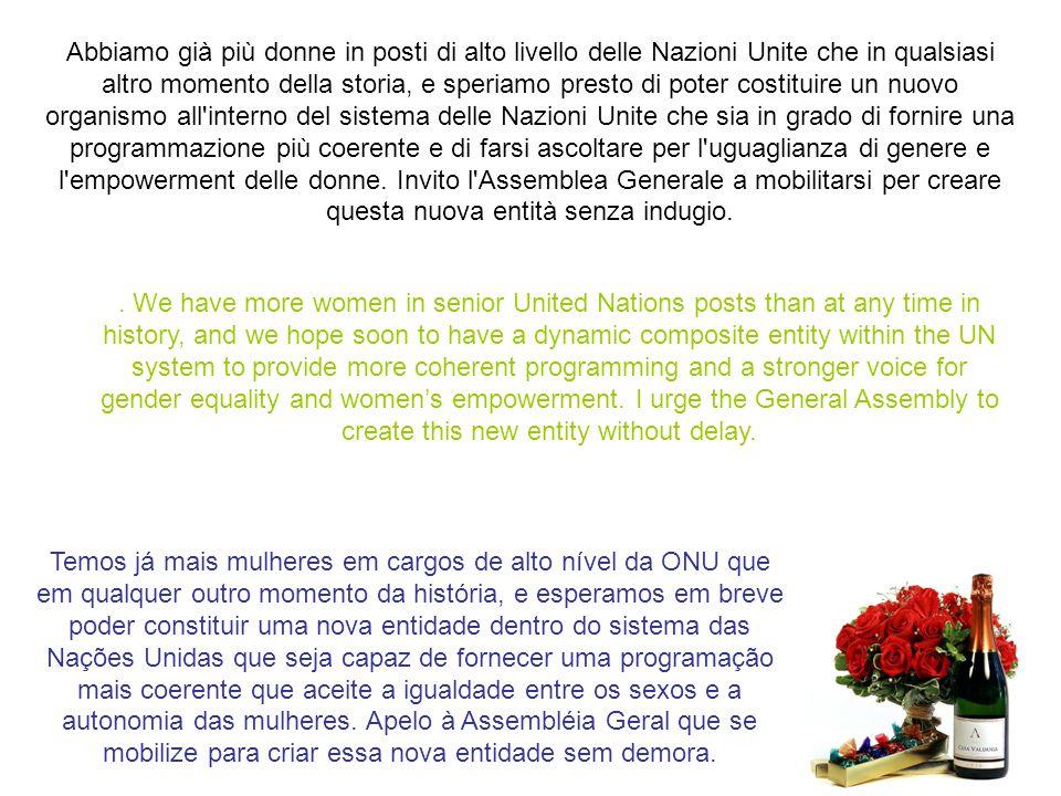 Un'altra lezione è che le Nazioni Unite devono dare il buon esempio. Sottolineando che le donne sono centrali per la pace e la sicurezza, stiamo lavor