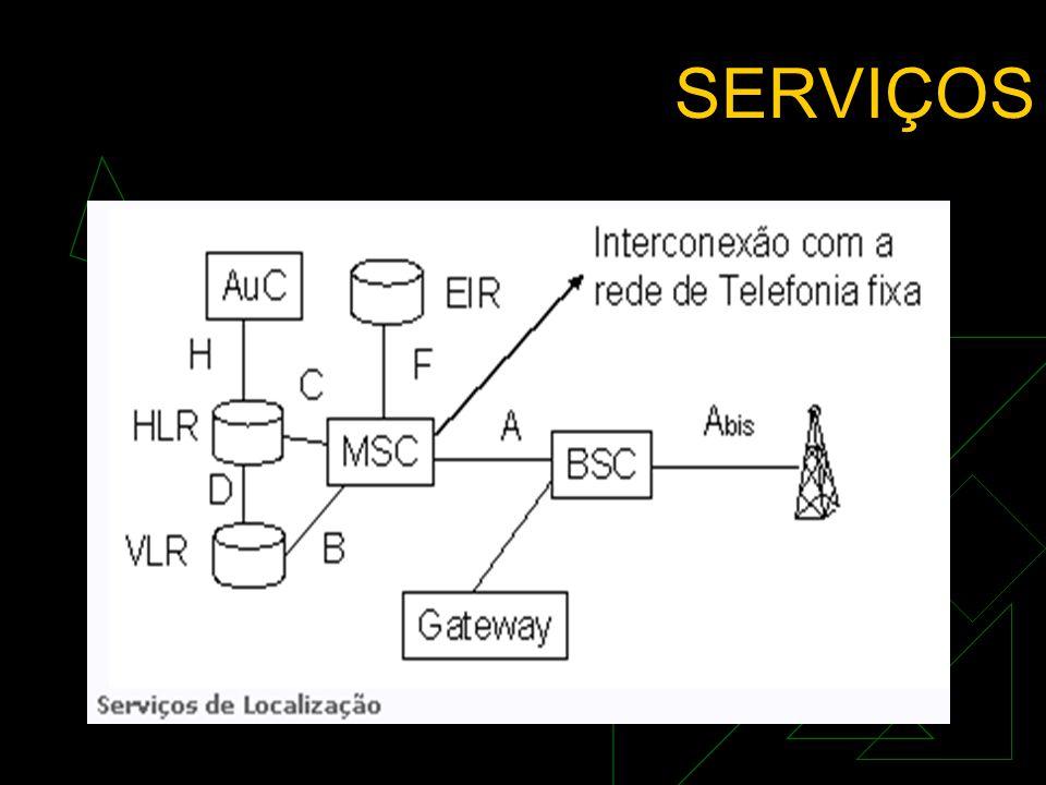 SERVIÇOS  BEARER SERVICES Transporte de dados para conectar dois elementos.  TELESERVICES Serviço de comunicação entre dois assinantes.  SERVIÇOS S