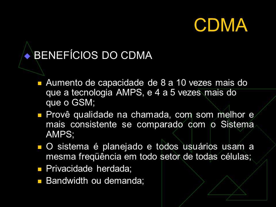 CDMA  PADRÃO (IS-95) Interim Standard É compatível com o sistema AMPS; Requer poucas células ; Inovações tecnológicas para superar a capacidade de pr