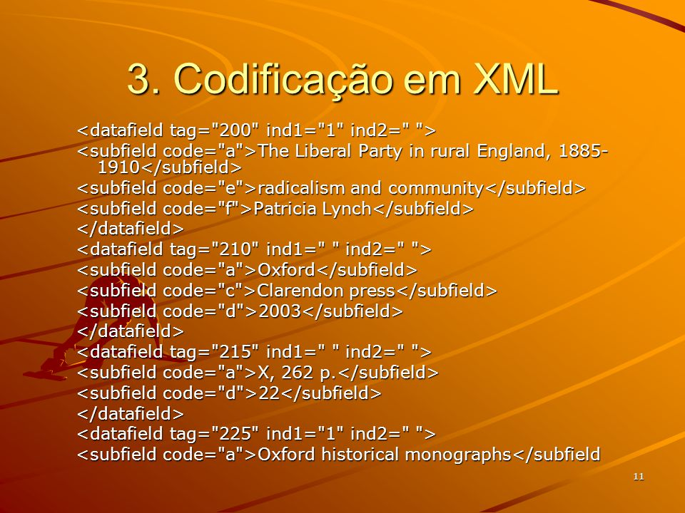 11 3. Codificação em XML The Liberal Party in rural England, 1885- 1910 The Liberal Party in rural England, 1885- 1910 radicalism and community radica