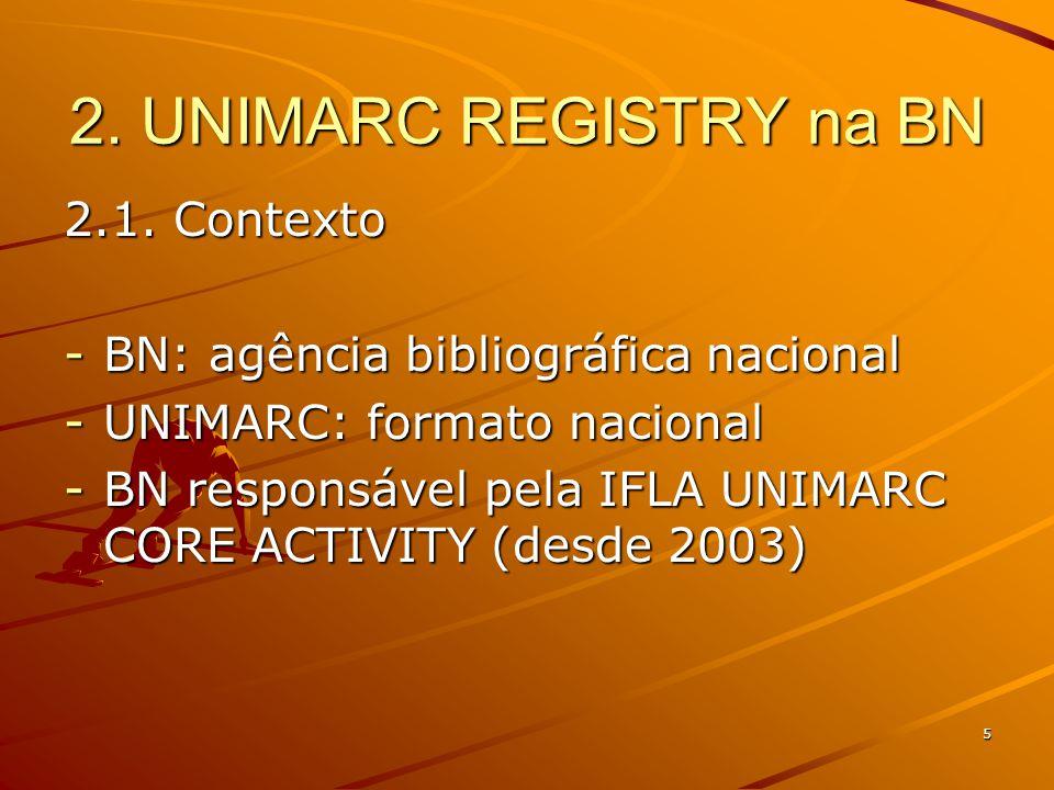 5 2. UNIMARC REGISTRY na BN 2.1.