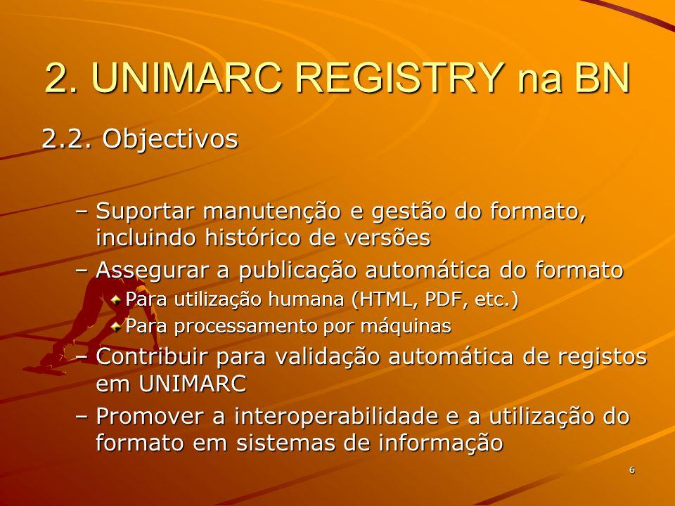 6 2. UNIMARC REGISTRY na BN 2.2.