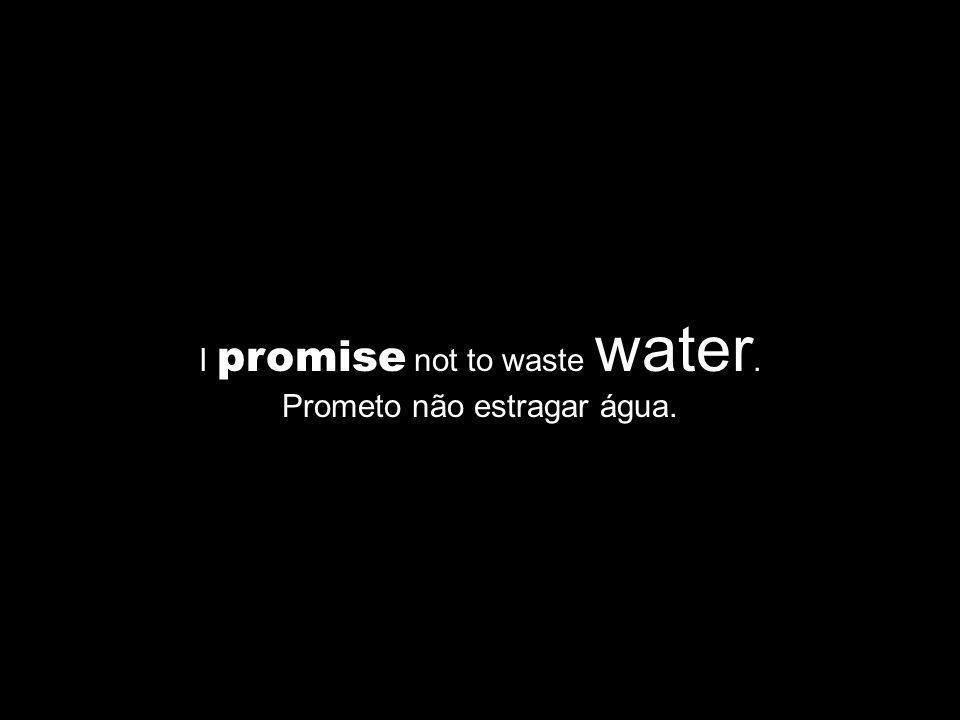 I promise not to waste water. Prometo não estragar água.