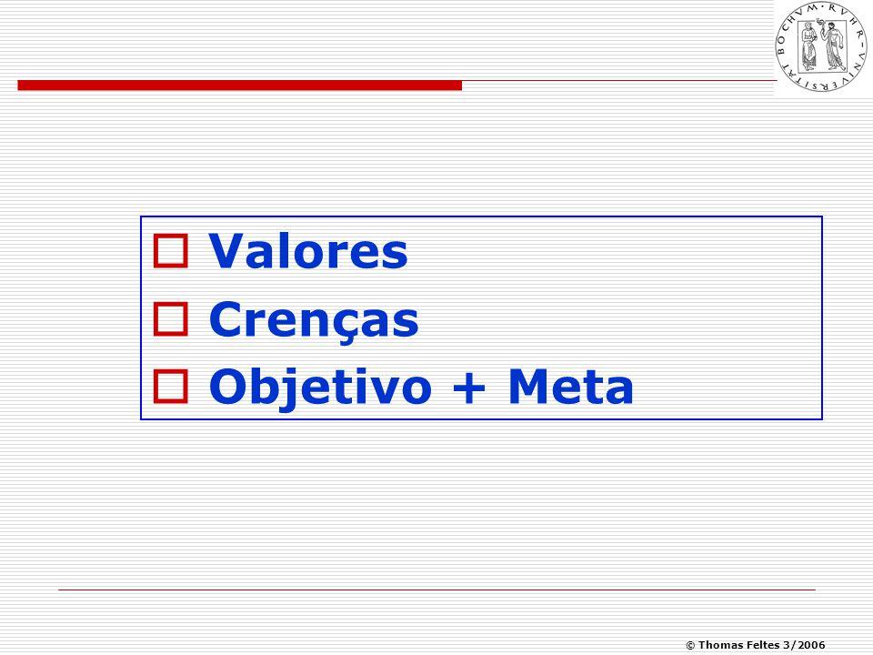© Thomas Feltes 3/2006  Valores  Crenças  Objetivo + Meta