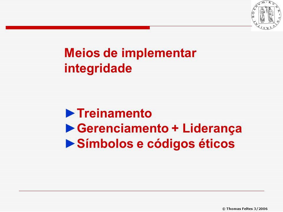 © Thomas Feltes 3/2006 Meios de implementar integridade ►Treinamento ►Gerenciamento + Liderança ►Símbolos e códigos éticos