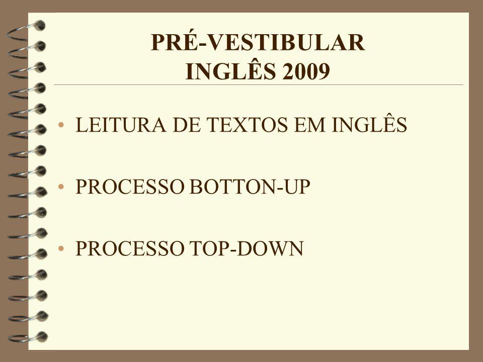 PRÉ-VESTIBULAR INGLÊS 2009 LEITURA DE TEXTOS EM INGLÊS PROCESSO BOTTON-UP PROCESSO TOP-DOWN