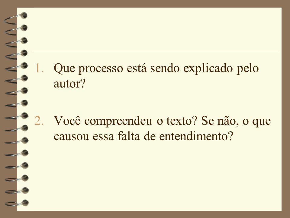 1.Que processo está sendo explicado pelo autor.2.Você compreendeu o texto.