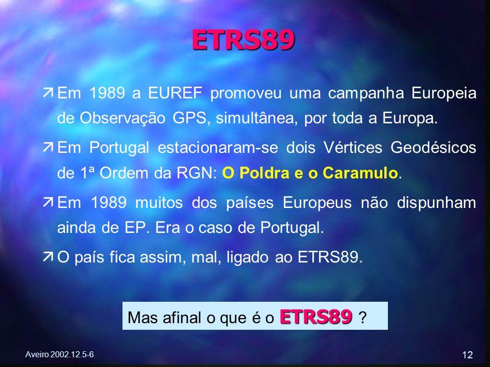 Aveiro 2002.12.5-6 12 ä äEm 1989 a EUREF promoveu uma campanha Europeia de Observação GPS, simultânea, por toda a Europa. ä äEm Portugal estacionaram-