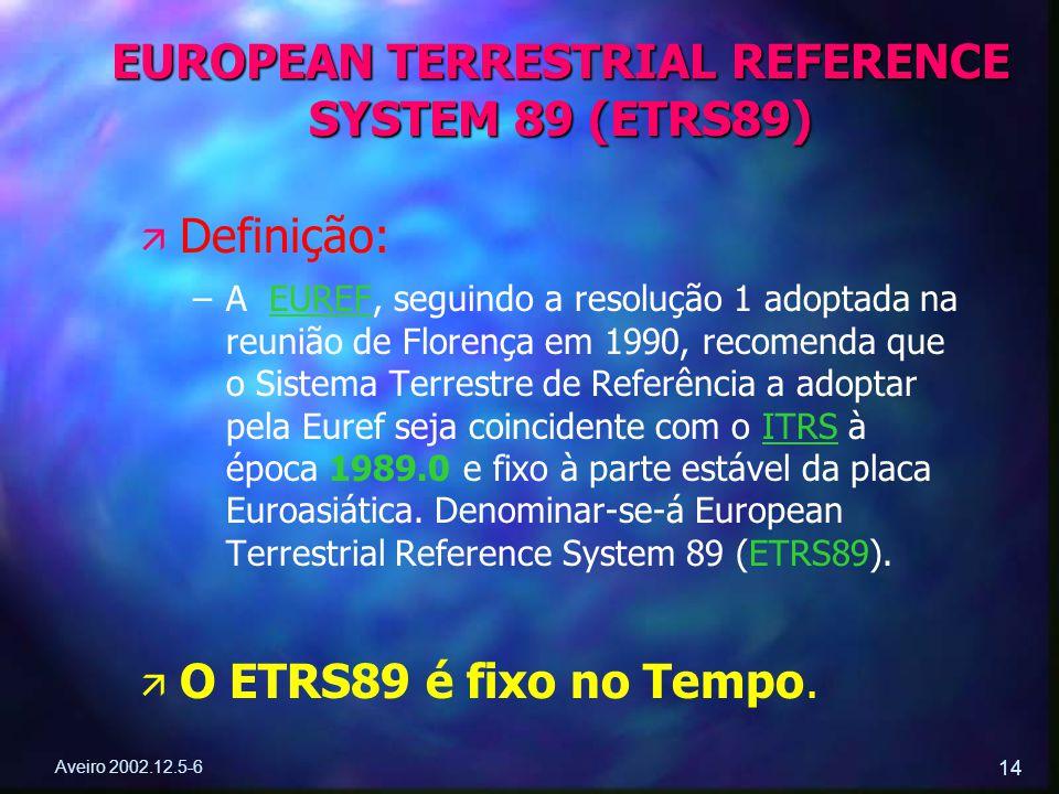 Aveiro 2002.12.5-6 14 ä ä Definição: – –A EUREF, seguindo a resolução 1 adoptada na reunião de Florença em 1990, recomenda que o Sistema Terrestre de