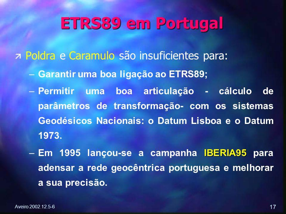 Aveiro 2002.12.5-6 17 ä ä Poldra e Caramulo são insuficientes para: – –Garantir uma boa ligação ao ETRS89; – –Permitir uma boa articulação - cálculo d