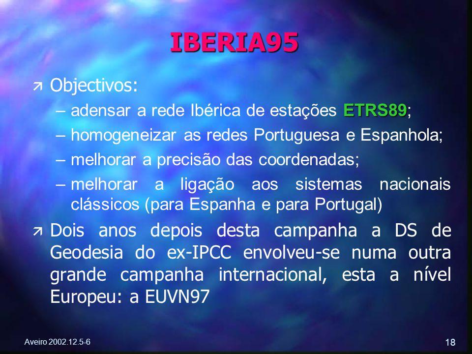 Aveiro 2002.12.5-6 18 ä ä Objectivos: –ETRS89 –adensar a rede Ibérica de estações ETRS89; – –homogeneizar as redes Portuguesa e Espanhola; – –melhorar