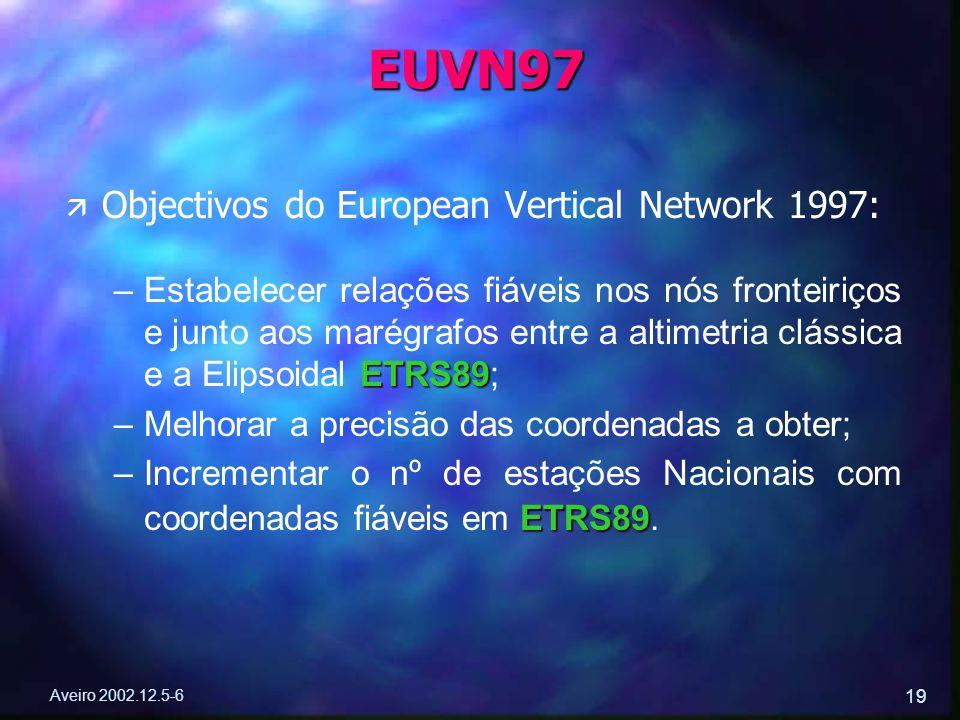 Aveiro 2002.12.5-6 19 ä ä Objectivos do European Vertical Network 1997: – ETRS89 –Estabelecer relações fiáveis nos nós fronteiriços e junto aos marégr