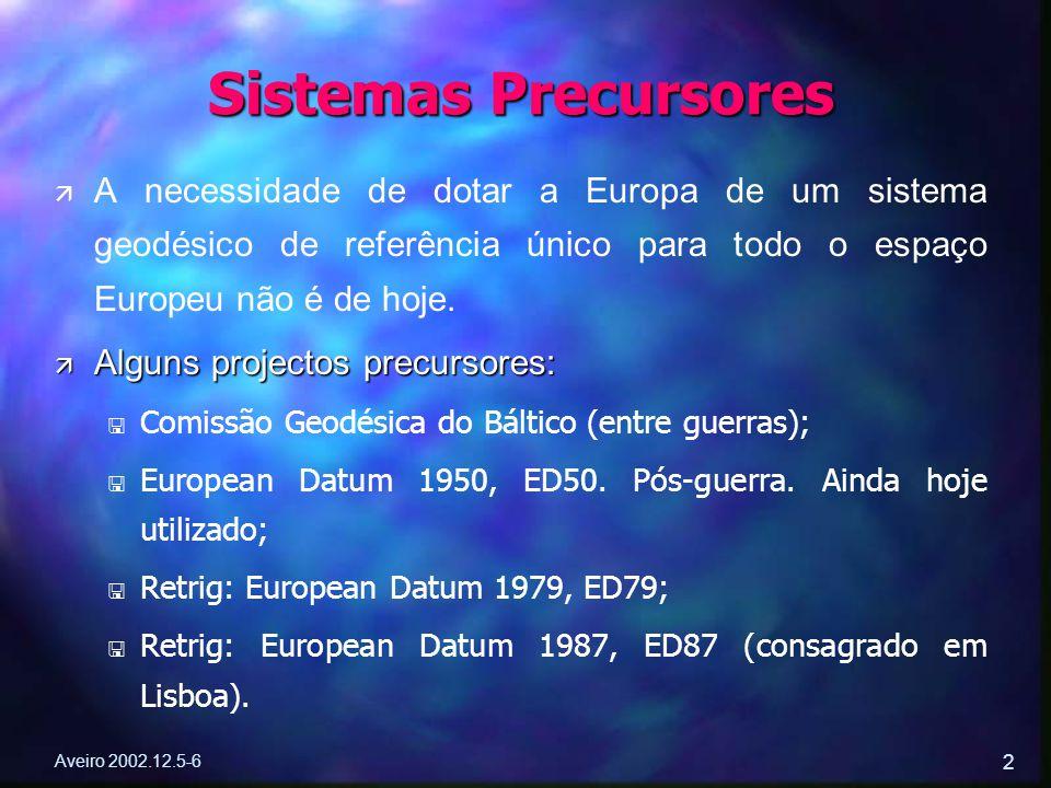 Aveiro 2002.12.5-6 2 ä ä A necessidade de dotar a Europa de um sistema geodésico de referência único para todo o espaço Europeu não é de hoje. ä Algun
