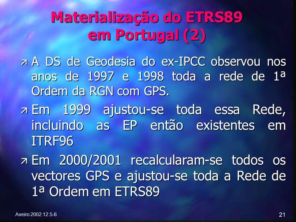 Aveiro 2002.12.5-6 21 ä A DS de Geodesia do ex-IPCC observou nos anos de 1997 e 1998 toda a rede de 1ª Ordem da RGN com GPS. ä Em 1999 ajustou-se toda