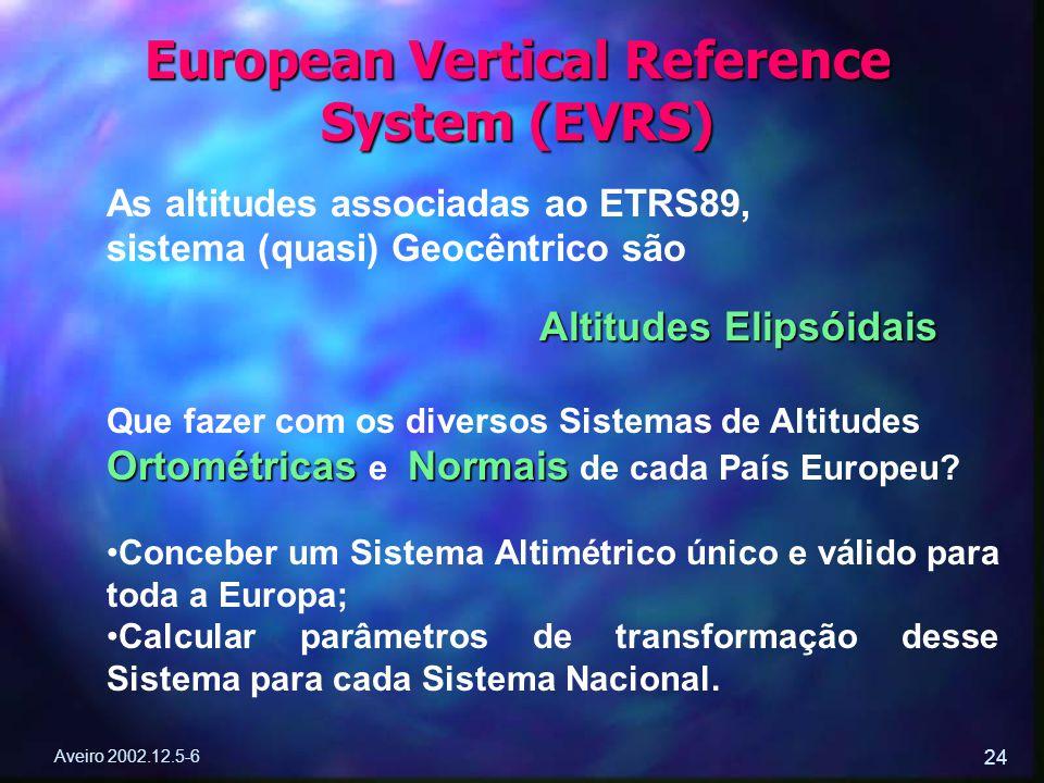 Aveiro 2002.12.5-6 24 European Vertical Reference System (EVRS) As altitudes associadas ao ETRS89, sistema (quasi) Geocêntrico são Altitudes Elipsóida