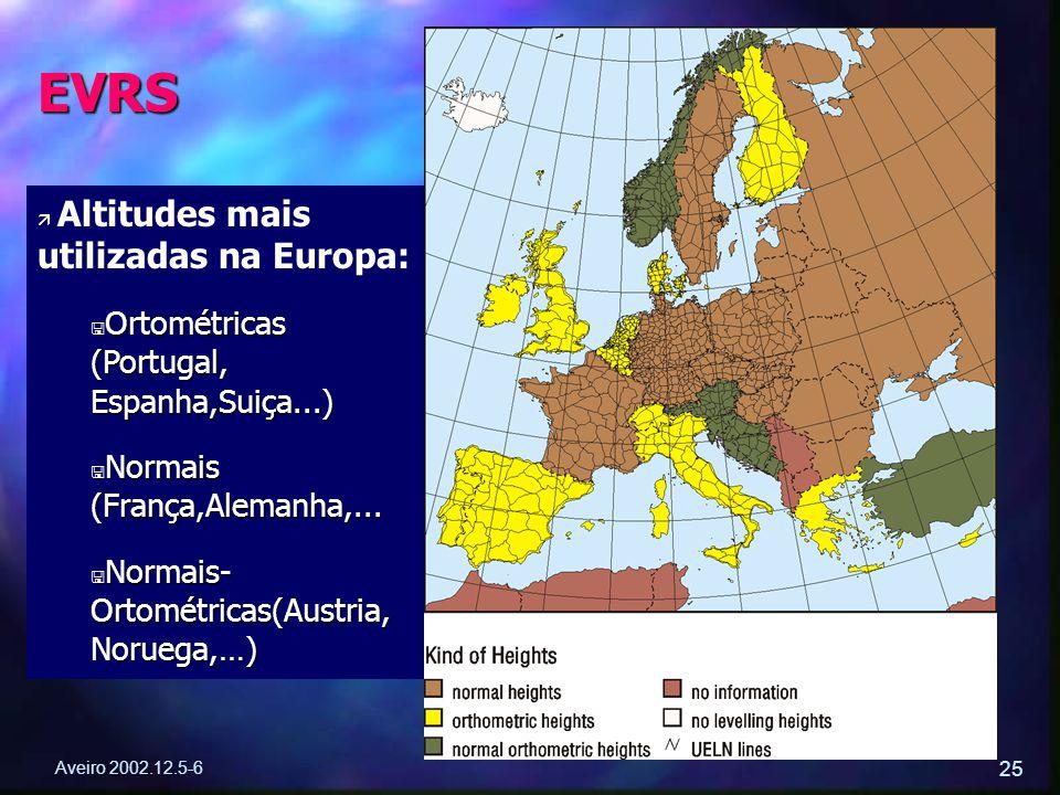 Aveiro 2002.12.5-6 25 ä ä Altitudes mais utilizadas na Europa: < Ortométricas (Portugal, Espanha,Suiça...) < Normais (França,Alemanha,... < Normais- O