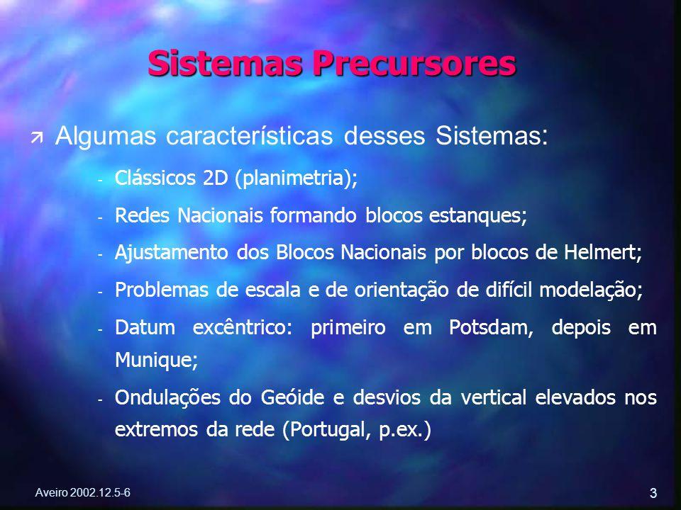 Aveiro 2002.12.5-6 3 ä ä Algumas características desses Sistemas : - - Clássicos 2D (planimetria); - - Redes Nacionais formando blocos estanques; - -