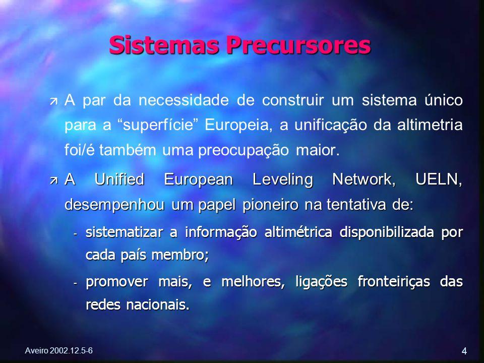 """Aveiro 2002.12.5-6 4 ä ä A par da necessidade de construir um sistema único para a """"superfície"""" Europeia, a unificação da altimetria foi/é também uma"""
