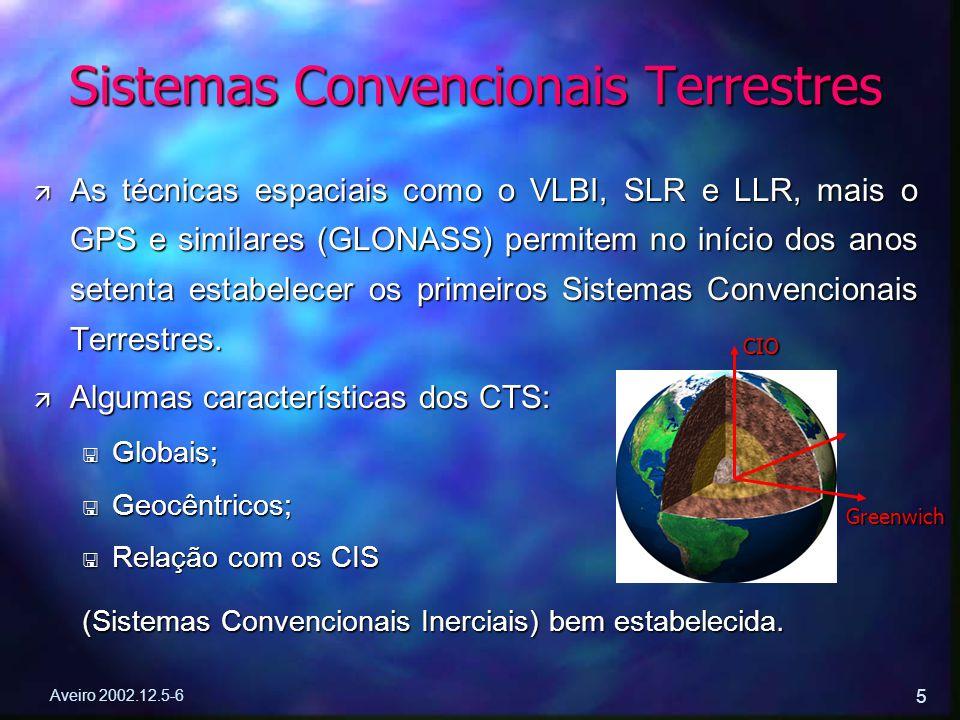 Aveiro 2002.12.5-6 5 ä As técnicas espaciais como o VLBI, SLR e LLR, mais o GPS e similares (GLONASS) permitem no início dos anos setenta estabelecer