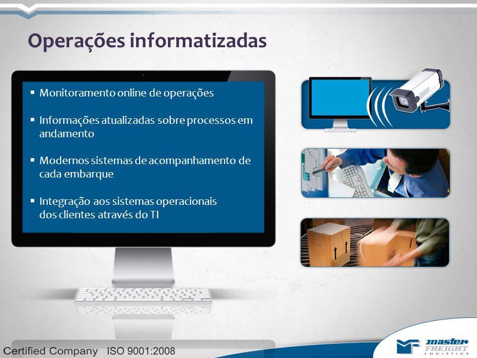 Operações informatizadas  Monitoramento online de operações  Informações atualizadas sobre processos em andamento  Modernos sistemas de acompanhamento de cada embarque  Integração aos sistemas operacionais dos clientes através do TI