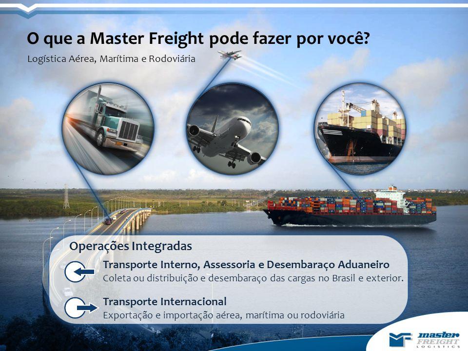 Transporte Internacional Exportação e importação aérea, marítima ou rodoviária Transporte Interno, Assessoria e Desembaraço Aduaneiro Coleta ou distribuição e desembaraço das cargas no Brasil e exterior.